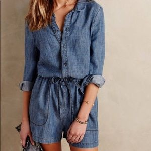 Anthropologie Level 99 Linen Blend Chambray Romper
